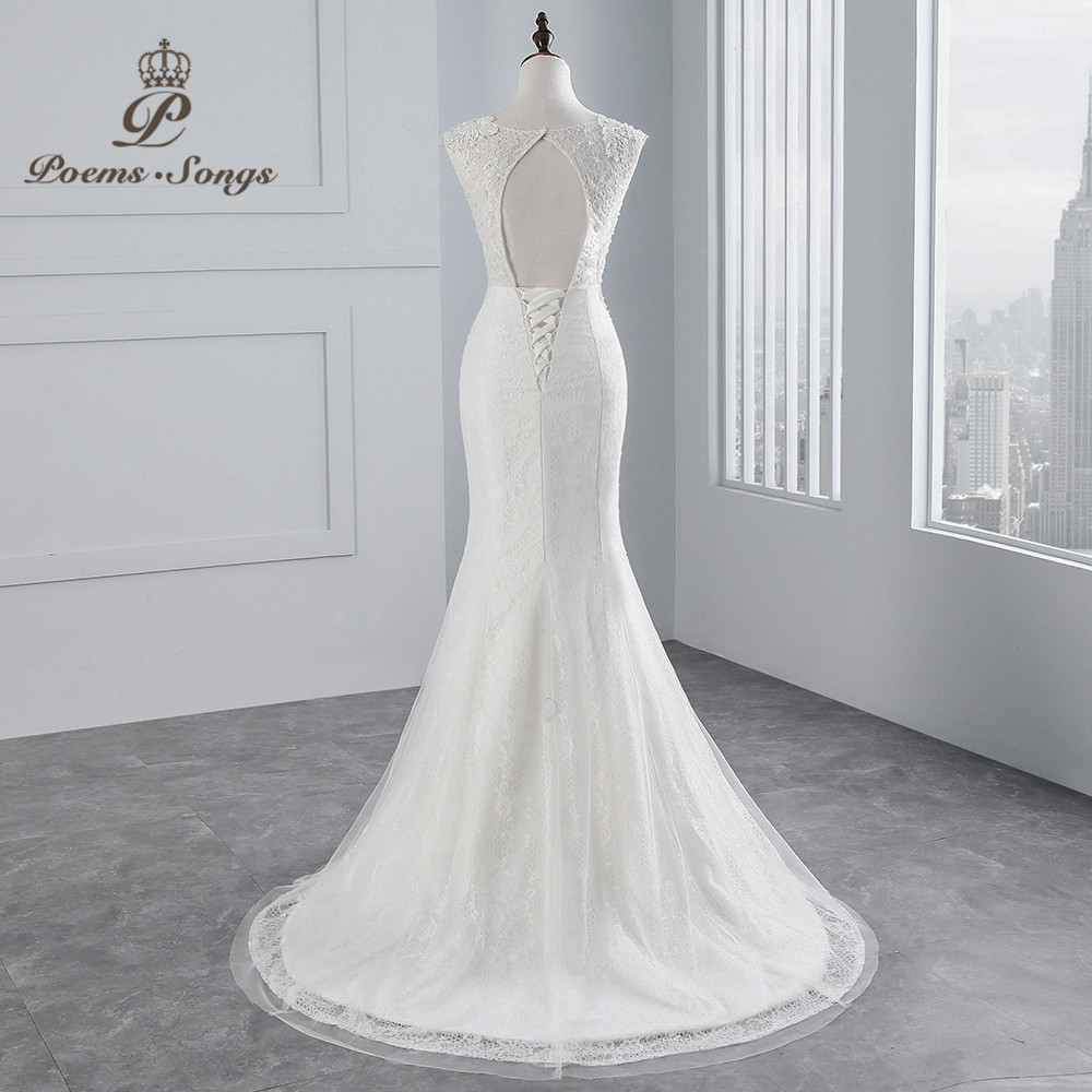 Image 3 - PoemsSongs real photo 2018 new style Sexy chest Mermaid wedding dress  No sleeves lace Wedding Gown Vestido de noiva-in Wedding Dresses from Weddings & Events