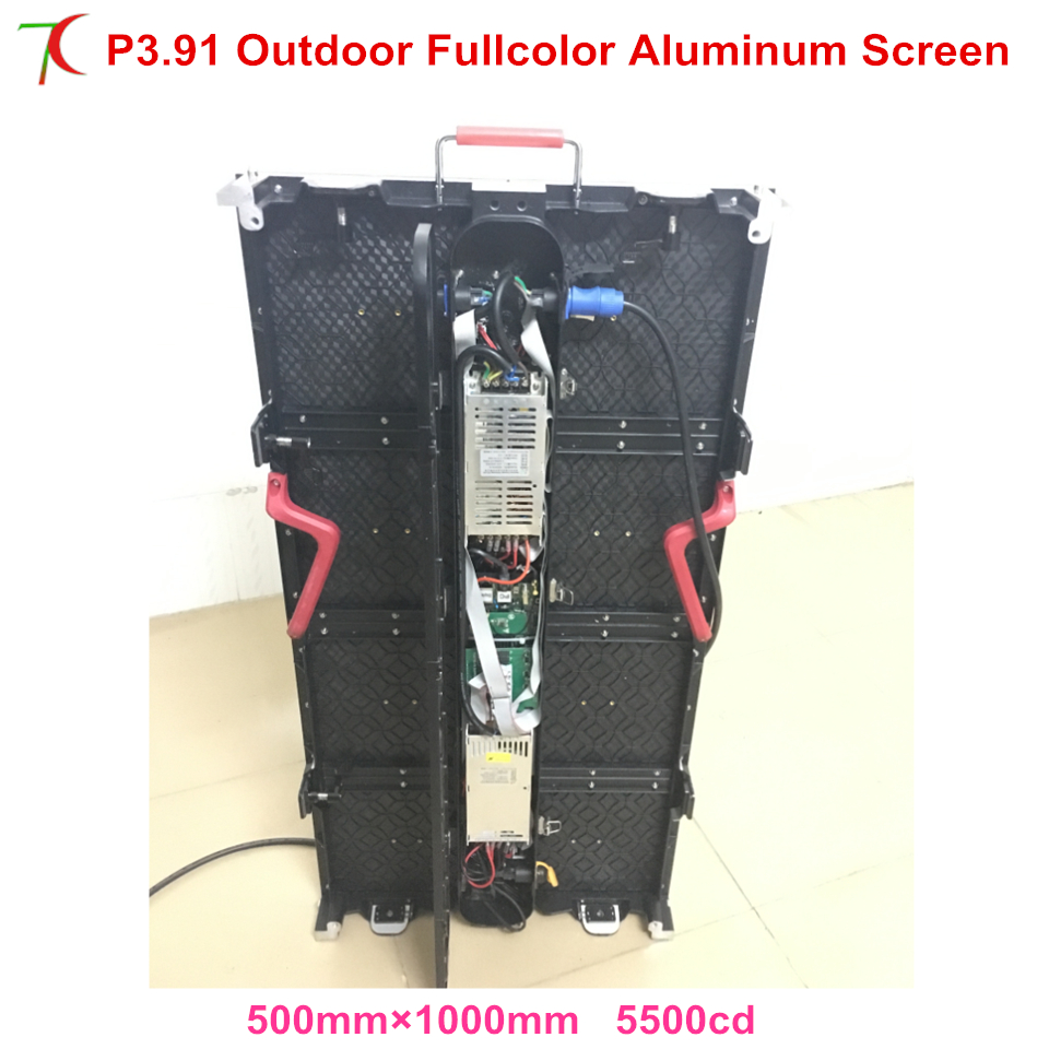 Asynchronous Control P3.91 Outdoor Waterproof  500*1000mm Die-casting Aluminum Equipment Cabinet Led Screen , SMD,16scan
