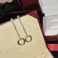Hot Brand Pure 925 Sterling Silver Jewelry For Women Rose Gold Earrings Long Chain Earrings 3 Color Circle Summer Party Earrings