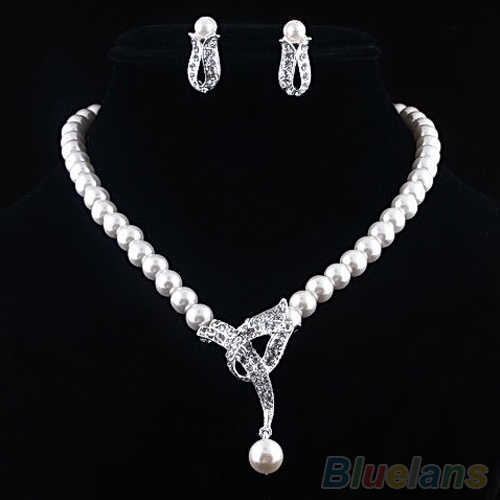Hot Faux Pearl Crystal Choker Women Necklace  Earrings Jewelry Set For Wedding Party  04QL 2D11 7FIU BD9N