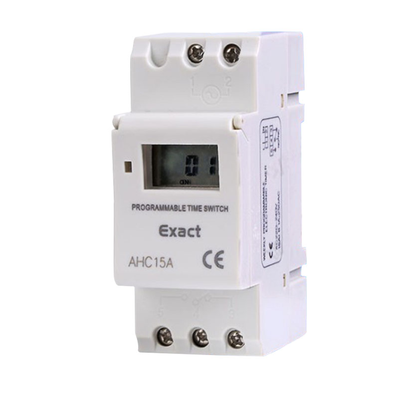 AHC15A THC15A Daily/Weekly Programmable Din Rail Digital Timer Time Switch Relay 25A 16A 220V AC 230V 110V/ DC 24V 12V 0 01 999 second 8 terminals digital timer programmable time relay