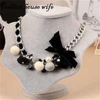 Fashion House Wife DIY Velvet Bowknot Fur Ball Charm Choker Necklace Statement Jewelry Women Romantic Hyperbole