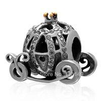 Trắng Zircon Micro Pave Bí Ngô Xe Big Hole Authentic 925 Sterling Silver Châu Âu Charm Hạt Fit Jewelry Châu Âu SZPB250
