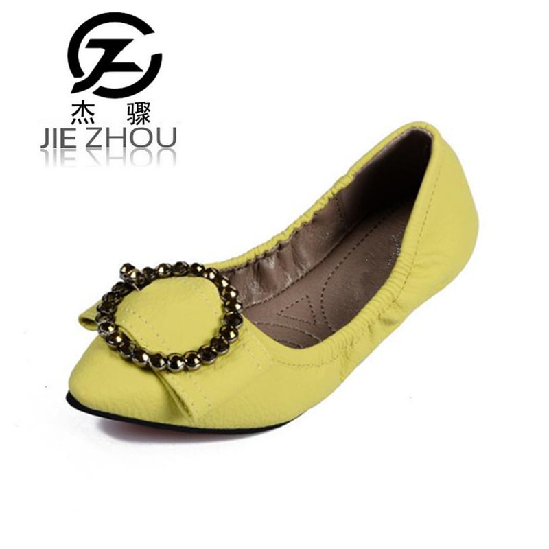 2018 new spring flat womens shoe female pointed head lazy shoes black Soft bottom egg roll shoes Plus Size Ballet Flats