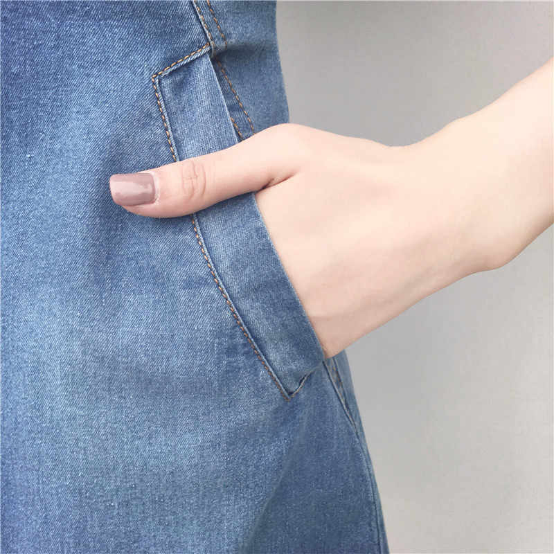 Vestido de mezclilla coreano para mujer 2019 nuevo verano Casual Jeans vestido con botón bolsillo Mini vestido de mezclilla Sexy talla grande 5XL R183