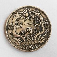 купить Chinese Guangxu Yinbi Double Dragon Brass Coin Feng shui Replica Lucky Silver Copper Coins Guangdong for Fortune Commemorative дешево