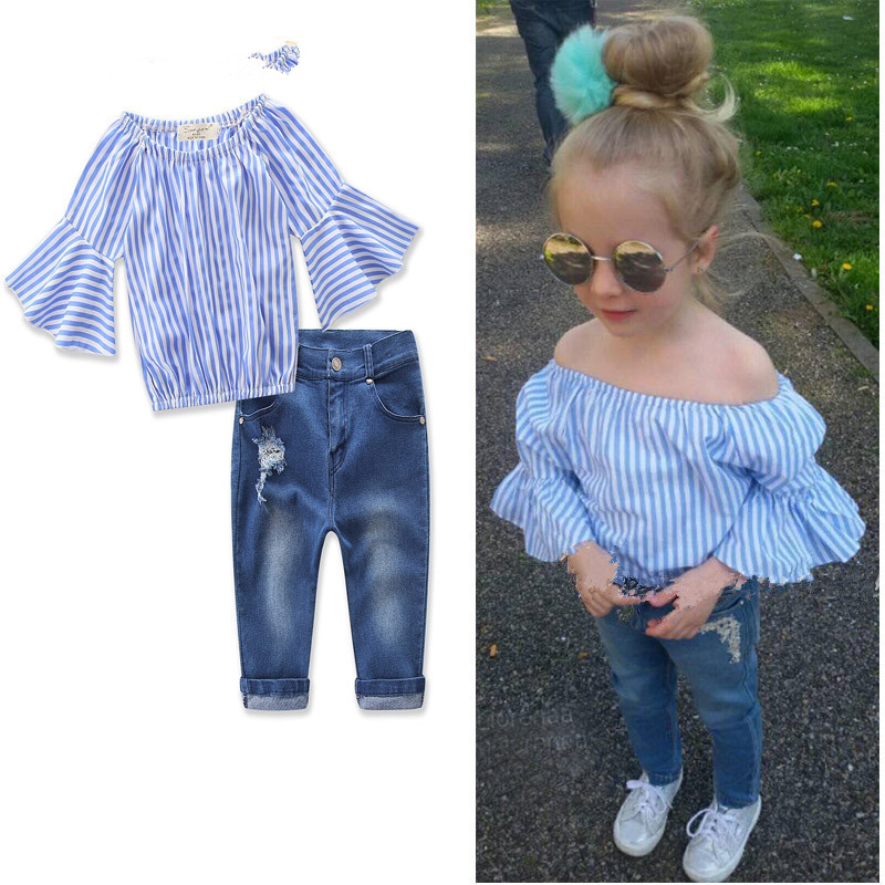 2Pcs Spring Summer Baby Clothes Sets Girl Suit Princess LineShoulder Striped Clothing +Jeans Suit Fashion Toddler Girls Set New