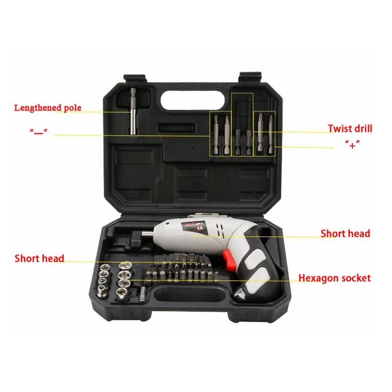 45pcs/Set Function Screwdriver Set Rechargeable Handheld Electric Screwdriver Home Hardware Power Tool Kit 2016 45 pcs rechargeable cordless reversible electric screwdriver 4 8v kit set hot handheld electric screwdriver