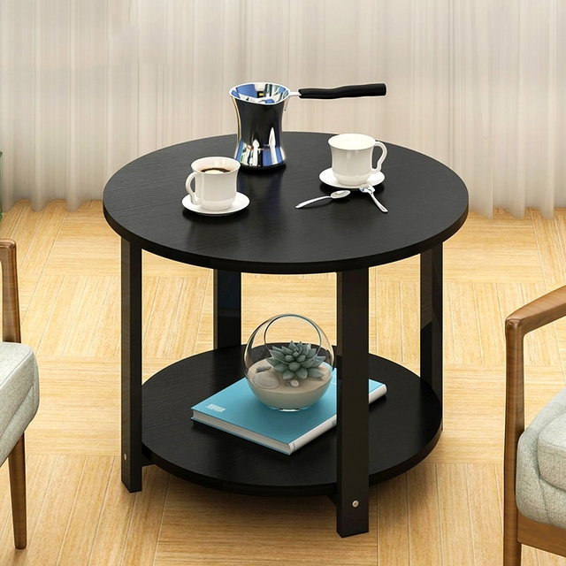 Home Wooden Coffee Table Simple Modern Round Tea Table Small Size ...
