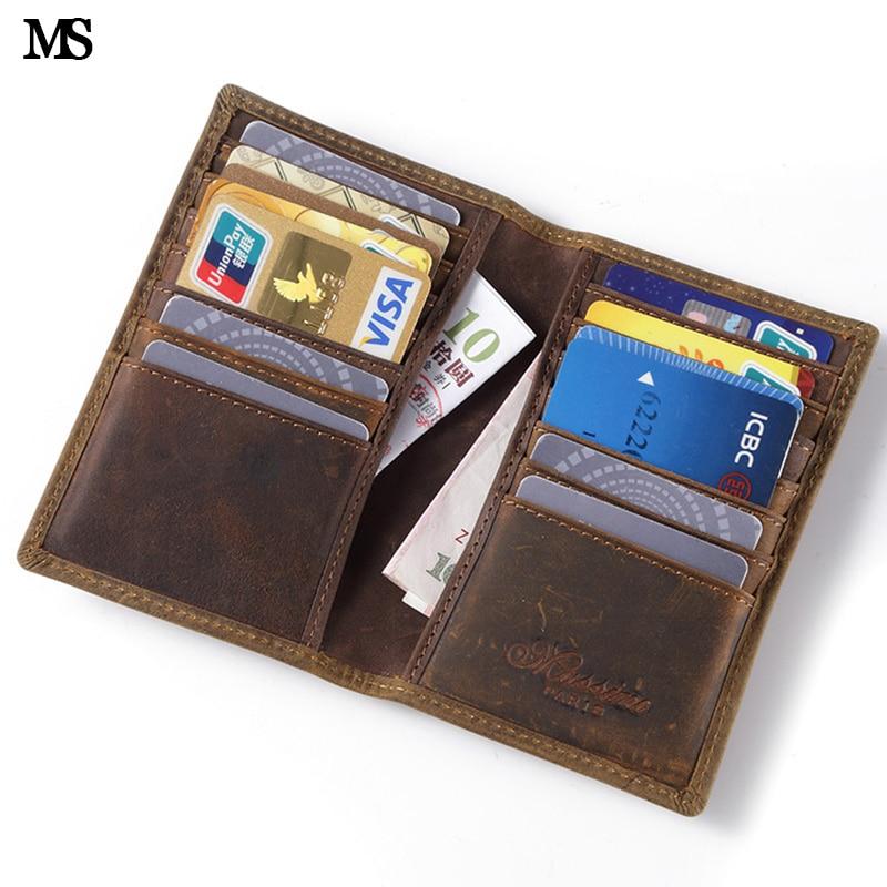 MS Vintage Ерлерге арналған шынайы былғарыдан жасалған әмиян Бизнес Кәдімгі несие карточкасы идентификаторы Үлкен слоттары Ақшаны ұстаушы Brown Wallet K101