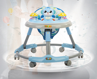 Foldable Multifunctional Baby Walker Large Chassis Rollover Prevention Music Entertainment with Plate Exchange 2019New Baby Gift