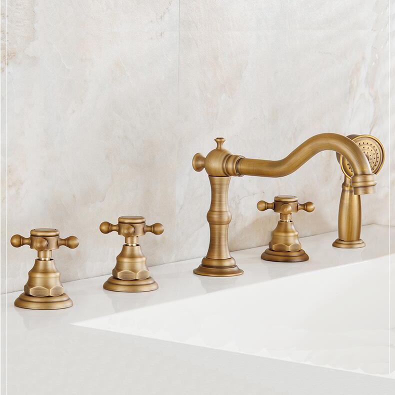 New arrival high quality total brass antique classic 5pcs Deck-Mounted bathroom bathtub faucet set Tub Filler Faucet Mixer Taps цена