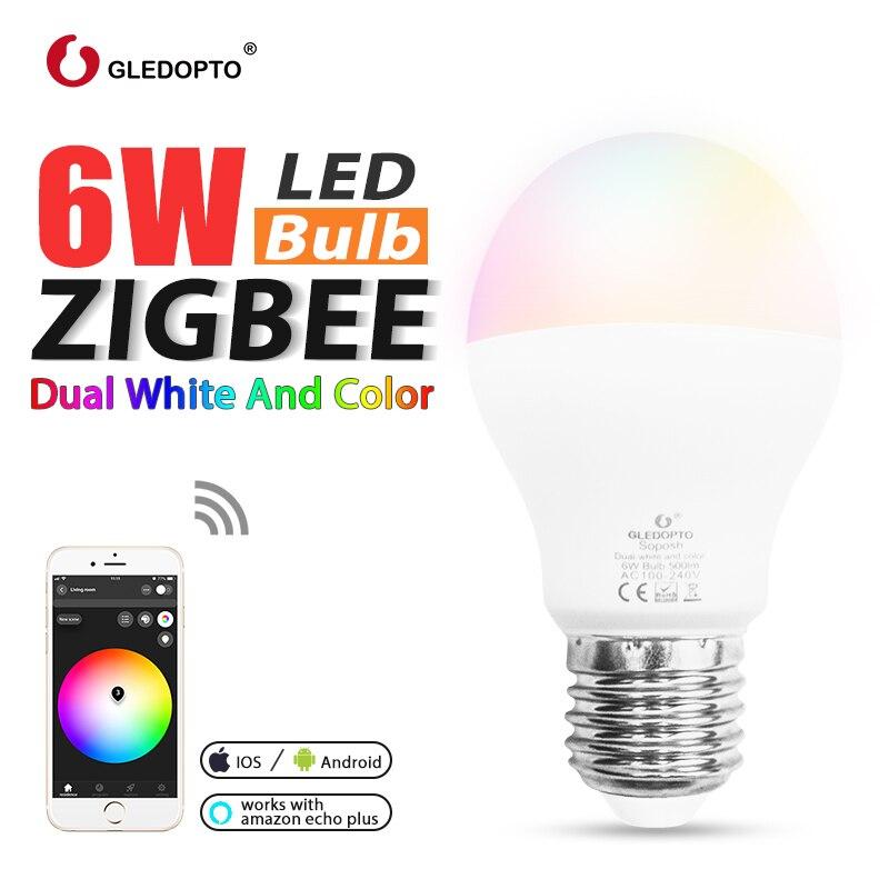 GLEDOPTO ZIGBEE 6W RGB+dual white led bulb colorful rgbcct Zigbee light link3.0 work with amazon echo plus zigbee gateways