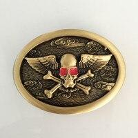Retail Hot Sale Oval Solid Brass Red Eye Skull Belt Buckles With Metal Cowboy Belt Head