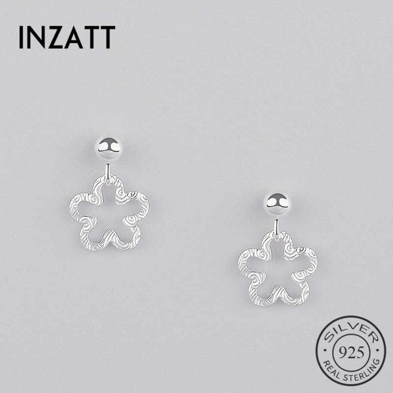 INZATT  Authentic 925 Sterling Silver Five Petals Hollow Flower Dangle Drop Earrings Fine Jewelry For Women Elegance Accessories
