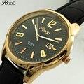 Роскошные Лучший Бренд Часы Моды для Мужчин Кварцевые Часы Classic Gold Дата Кожа Водонепроницаемый Мужчины Наручные Часы Relogio мужской