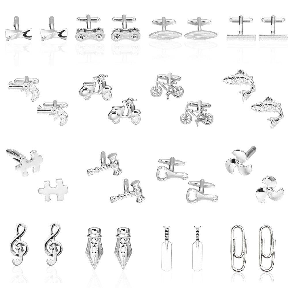 Memolissa Classic Solid Color Silver Cufflinks 18 Designs Simple Men's Cufflinks Gifts For Men Gemelos Para Hombre Camisa