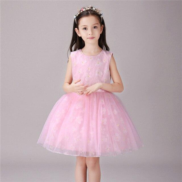 Summer Flower Girl Dresses Sleeveless Christening Wedding Bridesmaid Mini Dress  Baby Children Gown O-Neck Floral Dress fd21f0ec2a4a