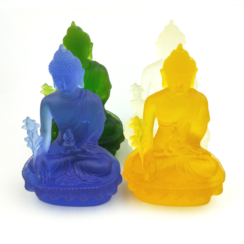 Seven Colours of 13 Cm Trumpet Water Glass Pharmacist Buddha Statue with Optional Religious Family Decorations