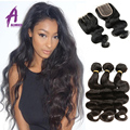 Grade 7A Indian Virgin Hair Body Wave 3 bundles with Closure 4pcs Indian Body Wave Unprocessed Indian Virgin Hair With Closure