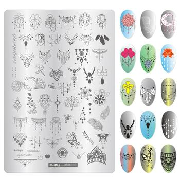 9.5*14cm Nail Art Stamping Plates Christmas Halloween Feather Necklace Manicure Polish Stamp Stencil Nails Tips Accessoires New