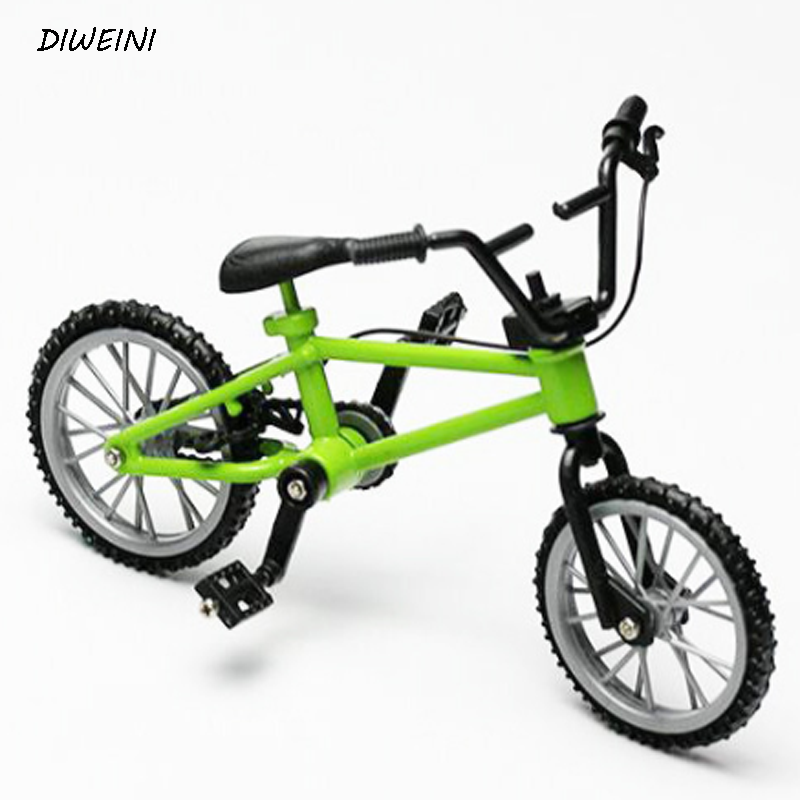 1 Pcs/set Creative Simulation Alloy Finger Bikes Children Mini Size Green fingerboard bi ...