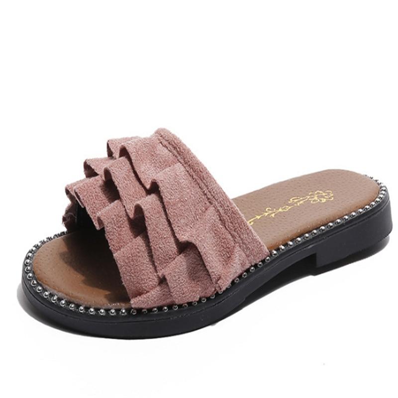 Xinfstreet Brand Children Beach Sandals Girls Slides Shoes Slip-on Princess Soft Kids Sandals For Girls Size 26-36