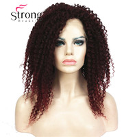 StrongBeauty Lace Front Long Spiral Curls Wine Red Mix Black, High Heat Full Synthetic Wigs