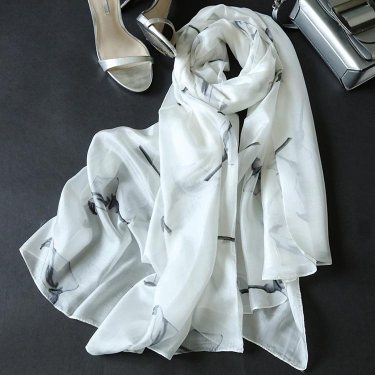 2018 New Calla Pattern Print 100% Silk Bufanda de mujer de gran - Accesorios para la ropa
