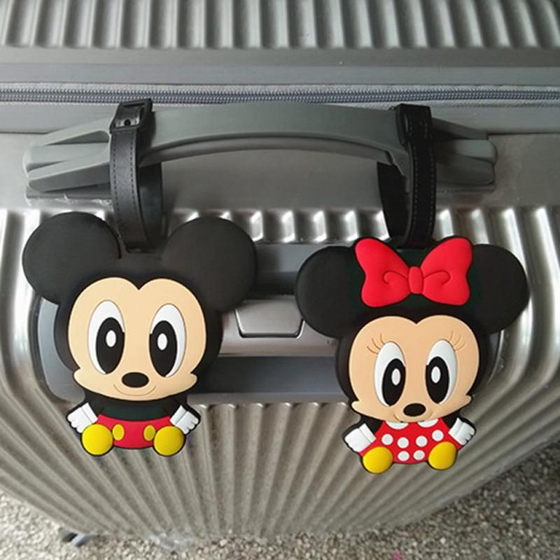 Travel Accessories Cartoon Mickey Minnie Silica Gel Luggage Tag Label Suitcase Id Address Holder Women Portable Baggage Boarding