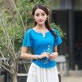Spring Blue Red White Print Chiffon Short Sleeve Linen Blouse Women New Ruffled Blouse Summer Retro Shirt