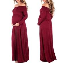 Maternity Maxi font b Dresses b font 2017 Maternity Photography Props Chiffon Vestidos Off Shoulders Maxi