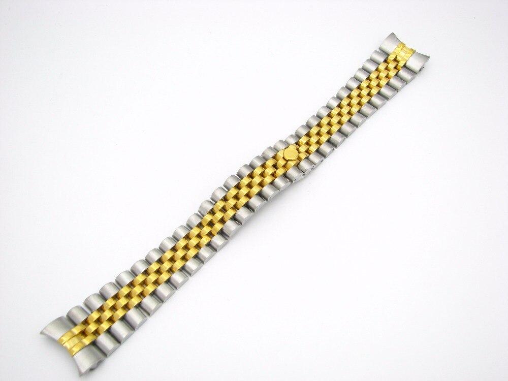 CARLYWET 20mm 316L En Acier Inoxydable Jubilé Argent Deux Tons Or Montre-Bracelet Bracelet Bracelet À Vis Solide Liens Extrémité Incurvée