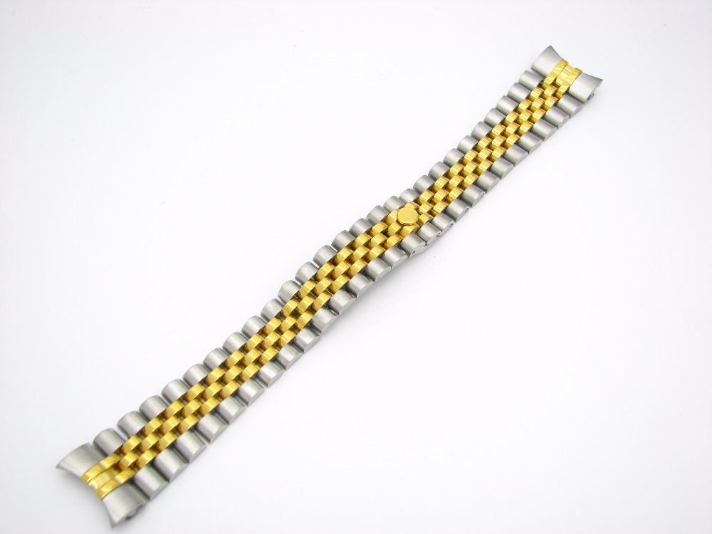 Prix pour 20mm En Gros Solide 316L Acier Inoxydable Jubilé Or Deux tons Montre-Bracelet de Courroie De Bande Bracelet Curved End Déploiement Fermoir