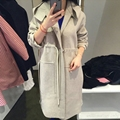 Women's Thicken Pink Hooded Palto Plus Size Maxi Woolen Coat Down Coat Autumn Windbreaker Long Manteau Femme Korean Cloak Winter