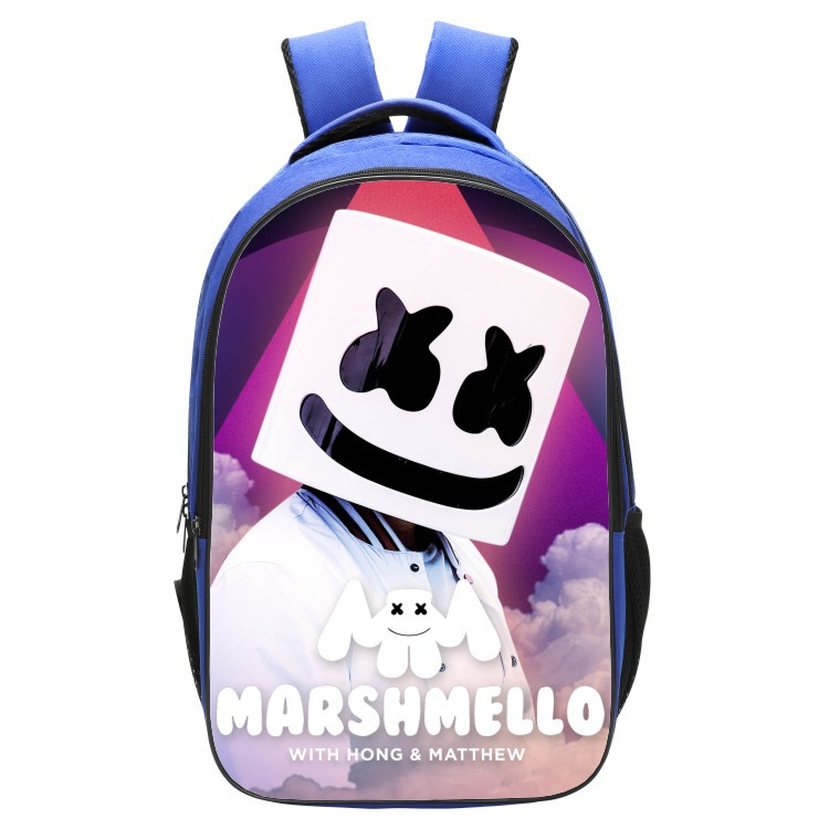 Hot DJ Marshmello Guy School Bag For Teenager Boys Girls Kids Personized Schoolbag Marshmallow Face Smile Hip-hop Funny Backpack