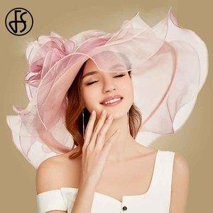 Image 2 - FS 2019 różowy Kentucky Derby kapelusz dla kobiet Organza kapelusze przeciwsłoneczne kwiaty eleganckie lato duże szerokie rondo panie ślub kościół Fedoras