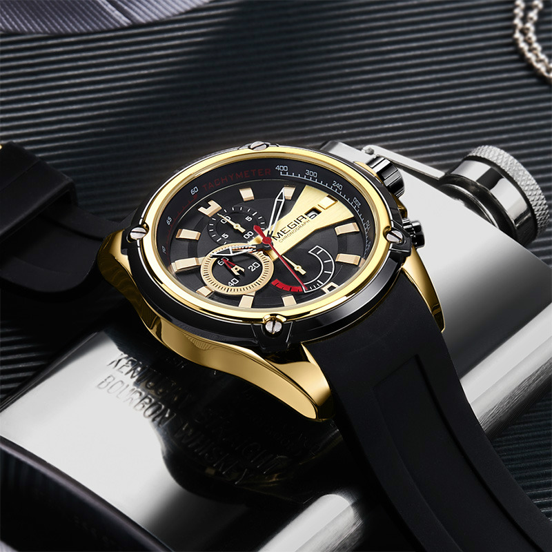 Megir Watch Sport Watch Men Waterproof Black Silicone Sport Watches Men Deportivo Luminous Army Man Watches 2018 Luxury Brand