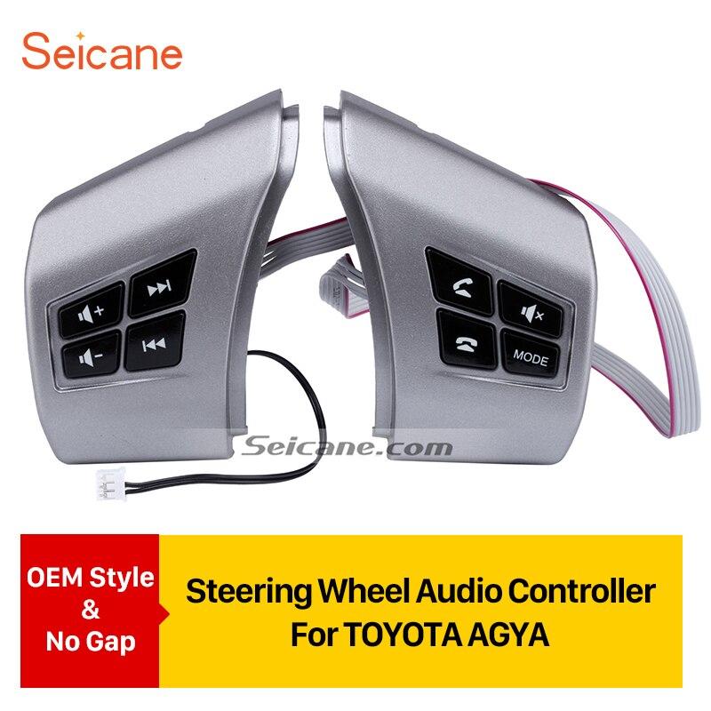 Seicane-bouton appel de téléphone | Volume de musique de voiture, Bluetooth bouton à distance pour TOYOTA AGYA étudiant le volant, contrôleur Audio