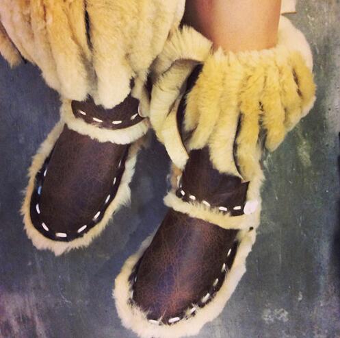 Eskimo/Стильные очень популярные женские модные зимние сапоги с меховой бахромой теплые зимние сапоги с круглым носком разноцветные женские с