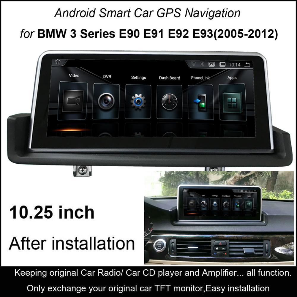 10.25 Tactile Android Voiture Lecteur Multimédia pour BMW 3 Série E90 E91 E92 E93 (2005-2012) roue gauche
