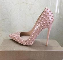 2019 Fashion free shipping Women nude Patent Leather spikes Poined Toe Stiletto high heel shoe pump HIGH-HEELED SHOE dress shoes