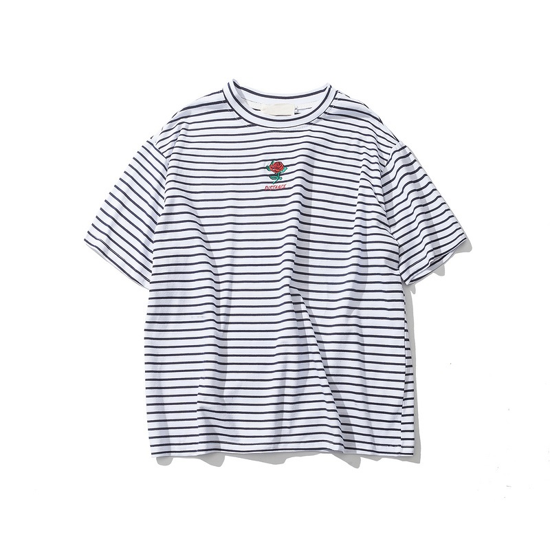 Dark Icon Rose Embroidery Striped Mens T-shirt Short Sleeve 19 Summer Hi-street Oversized Hip Hop Tshirt Cotton Tee Shirts 11