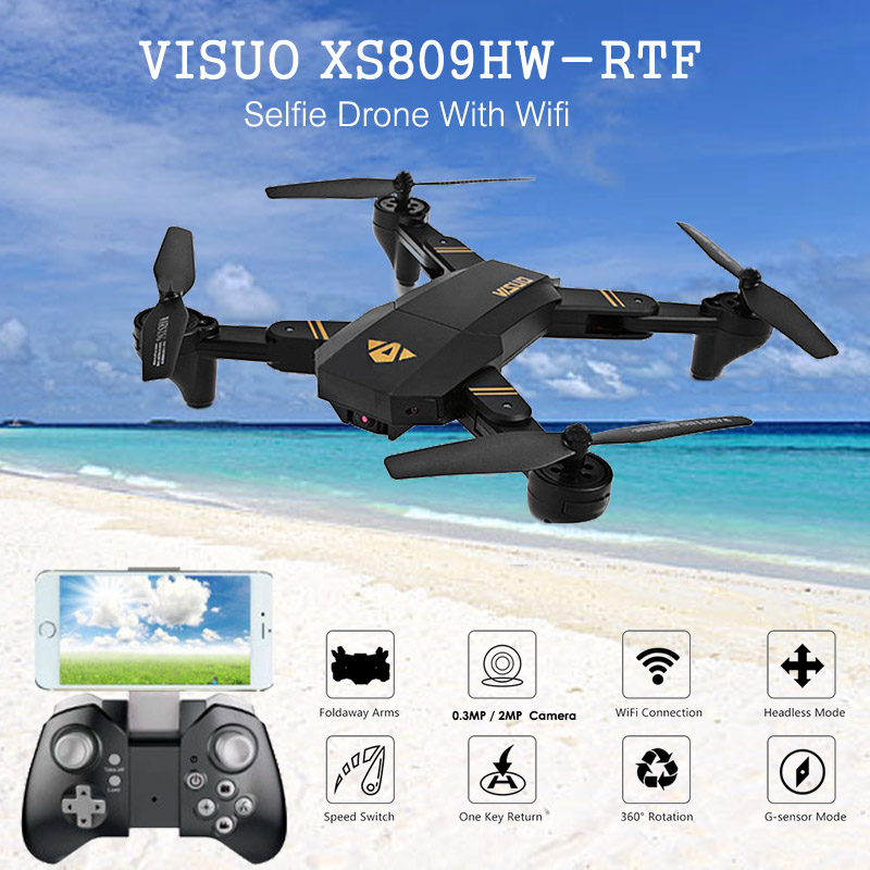 New Hot VISUO XS809HW HD Camera Altitude Hold Foldable Arm RC Drone Outdoor Toys Quadcopter RTF WIFI FPV For RC Models VS MAVIC in stock mjx bugs 6 brushless c5830 camera 3d roll outdoor toy fpv racing drone black kids toys rtf rc quadcopter