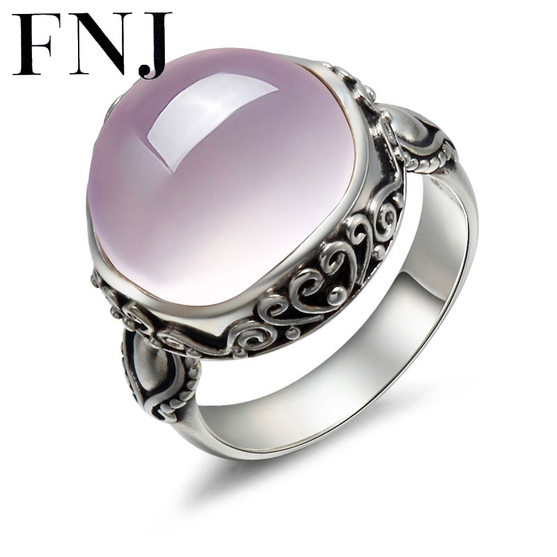 FNJ Vintage 100 S925 Solid Thai Silver QUARTZ Pink Stone Ring New Fine Jewelry Pure 925