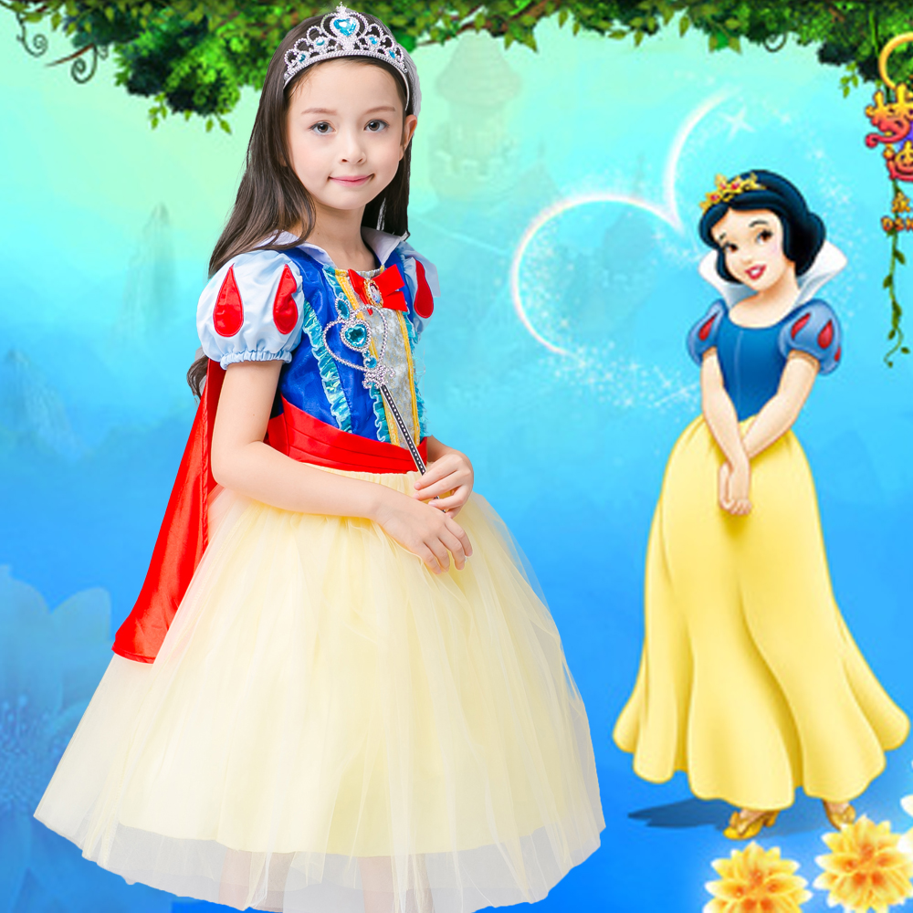 christmas girls dress for Snow White girls party dress kids  princess Costume Girls fantasia Vestido 3-12T Free oversleeve new cinderella princess girl dress kids christmas dresses costume for girls party crown necklace fantasia dress kids clothes