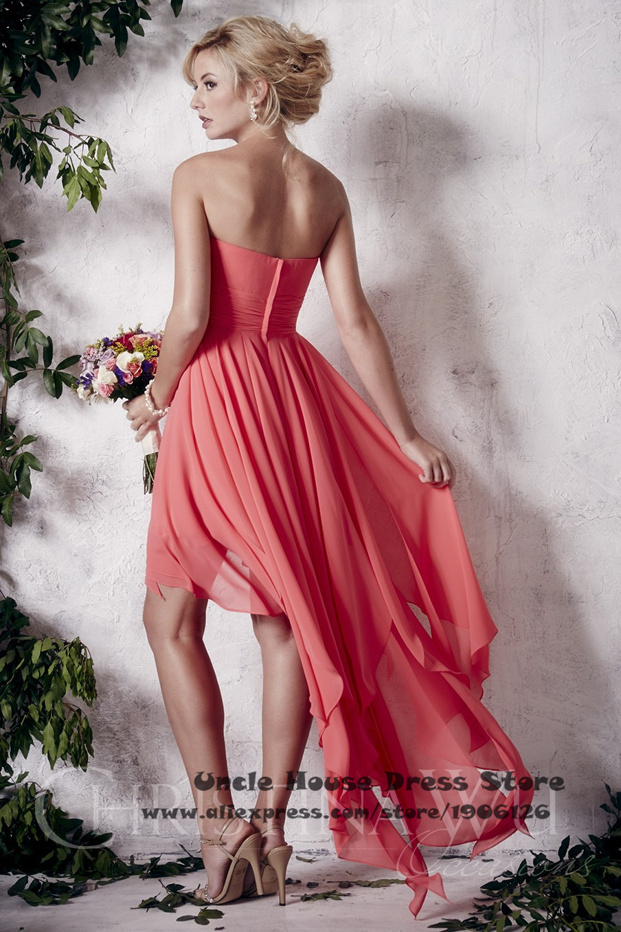 Mujeres corto de Color Coral alto bajo dama de honor Vestido de ...
