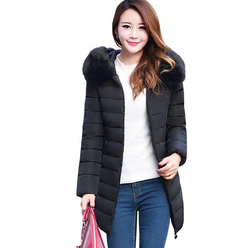 2019 размера плюс XL-7XL, парка, куртка, женские зимние пальто, средней длины, меховой воротник, толстая, сплошная, с капюшоном, пуховая, с хлопковой подкладкой, теплые пальто