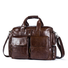 Men Handbags Genuine Leather Laptop Computer Bag Business Men Briefcase Vintage Casual Large Travel Shoulder Crossbody Bag high quality large capacity men pu leather computer business handbag casual vintage shoulder crossbody bag for travel work