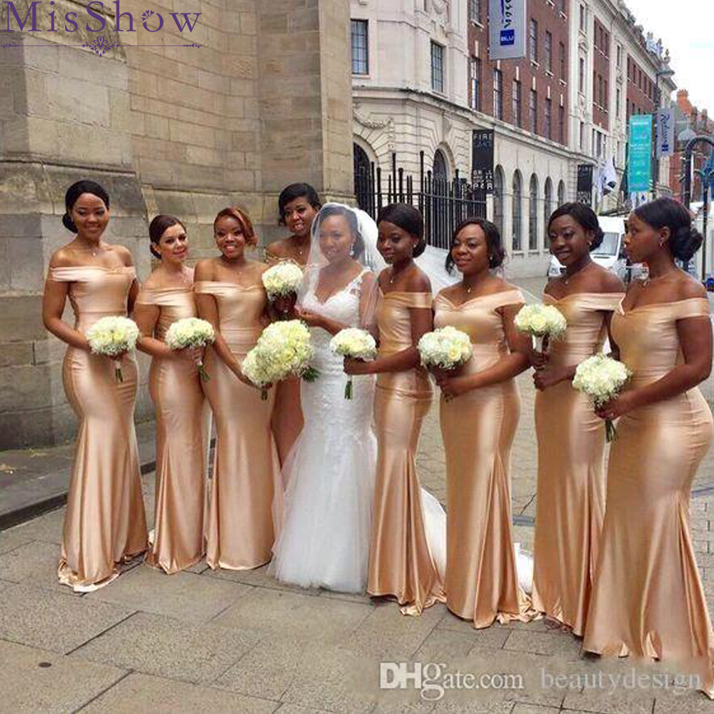 Sexy Satin Champagne   Bridesmaid     Dresses   2019 Mermaid Sleeveless off the shoulder Long   Bridesmaid     Dress   Formal Maid Of Honor